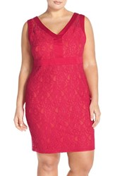 Plus Size Women's Sangria V Neck Lace Sheath Dress