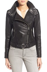 Women's Mackage 'Perfecto' Leather Moto Jacket Black