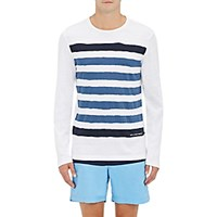 Orlebar Brown Men's Stripe Print Cotton Long Sleeve T Shirt Light Blue White Light Blue White