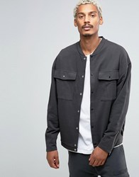Asos Oversized Jersey Bomber Jacket With Patch Pockets And Cuff Zips Washed Black