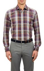 Etro Plaid Flannel Dress Shirt Colorless