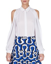 Kenzo Woven Cold Shoulder Blouse White
