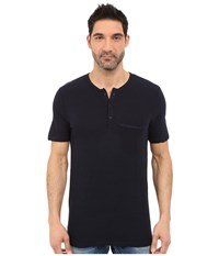 Michael Stars Short Sleeve Linen Jersey Henley Nocturnal Men's Clothing Black