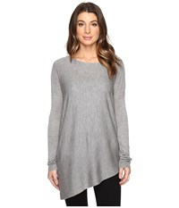 Splendid Asymmetrical Hem Pullover H.Slate Women's Long Sleeve Pullover Gray