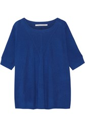 Diane Von Furstenberg Alycia Ribbed Wool And Silk Blend Sweater Bright Blue