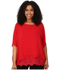 Calvin Klein Plus Plus Size Chiffon Dolman With Lace Rouge Women's Blouse Red