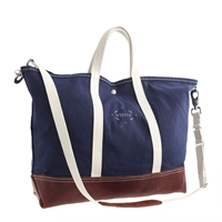 J.Crew Steele Canvas Basket Corp.Tm Leather Tote Navy Brown Leather