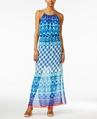 City Triangles City Studios Juniors' Printed Halter Maxi Dress French Blue Aqua Coral