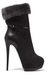 Giuseppe Zanotti Faux Fur Trimmed Suede And Leather Ankle Boots Black