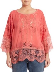 Johnny Was Plus Size Dane Eyelet Dolman Tunic Passion Fruit