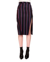 Altuzarra Striped Wool Blend Pencil Skirt Navy Red