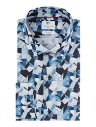 Richard James Blue Abstract Triangle Shirt