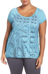 Addition Elle Love And Legend Plus Size Women's Print Faux Suede Front Tee Mood Indigo