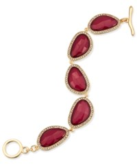 Inc International Concepts Gold Tone Burgundy Stone And Pave Link Bracelet Only At Macy's Merlot
