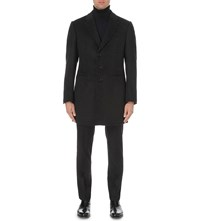 Armani Collezioni Tailored Fit Wool And Cashmere Blend Coat Grey