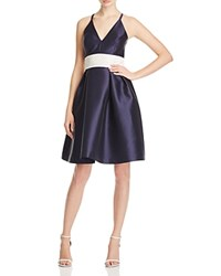 Carmen Marc Valvo Infusion Embellished Cross Back Dress Navy White