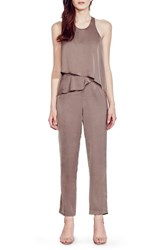 Ali And Jay Women's Tiered Chiffon Jumpsuit Taupe