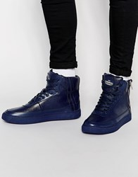 Criminal Damage Python Mid Trainers Navy Blue
