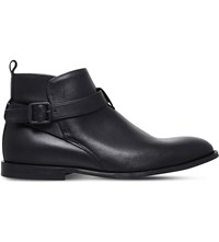 Kg By Kurt Geiger Lester Buckled Leather Ankle Boots Black