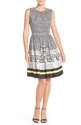 Women's Ellen Tracy Print Twill Fit And Flare Dress