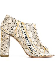 Jean Michel Cazabat Snakeskin Effect Open Toe Booties Nude And Neutrals