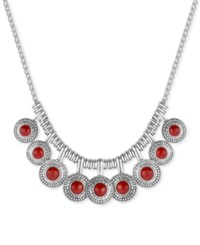 Lucky Brand Multi Disc Stone Statement Necklace Red