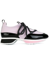 Pierre Hardy Dotted Shoelace Sneakers Pink And Purple