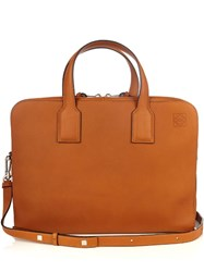 Loewe Goya Leather Briefcase Tan