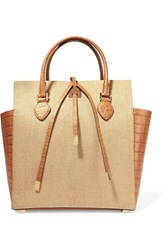 Michael Kors Miranda Woven Raffia And Snake Effect Leather Tote Brown
