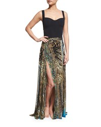 Camilla Printed Beaded High Slit Coverup Skirt Women's Rapturous