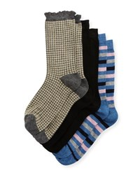 Neiman Marcus Three Pair Wardrobe Sock Set Assorted Gray Black