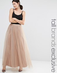 True Decadence Tall All Over Tulle Full Maxi Skirt Coffee Tan