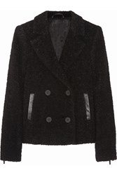Karl Lagerfeld Hadley Leather Trimmed Boucle Peacoat