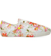 Converse Ctas Floral Print Leather Low Top Trainers Patbo White Floral