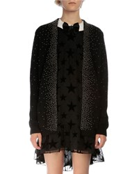 Saint Laurent Oversized Studded Open Front Cardigan Black