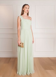 Elie Saab Shoulder Chiffon Dress Green