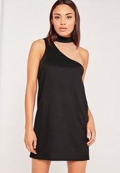 Missguided Asymmetric Neck Mesh Insert Shift Dress Black Black