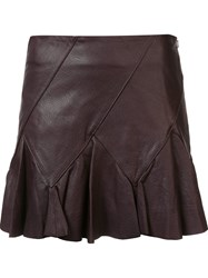 Derek Lam 10 Crosby Leather Skirt Brown