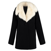 By Sun Heavy Wool Coat With Faux Fur Collar Black
