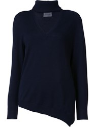 Les Animaux V Neck Knit Blouse Blue