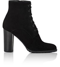 Barneys New York Women's Lug Sole Suede Ankle Boots Black