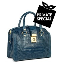L.A.P.A. Blue Croco Stamped Italian Leather Doctor Bag