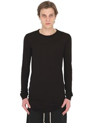 Rick Owens Silk Blend Jersey Long Sleeve T Shirt