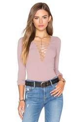 Free People Seamless Lace Up Top Mauve