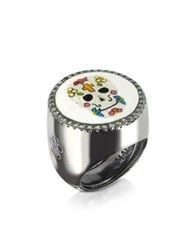 Azhar Calavera Skull Rhodium Plated Sterling Silver Adjustable Ring W White Cubic Zirconia Black