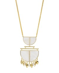Charm And Chain Mother Of Pearl Pendant Necklace 28 White