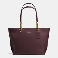 Coach Sophia Tote In Pebble Leather Light Gold Oxblood