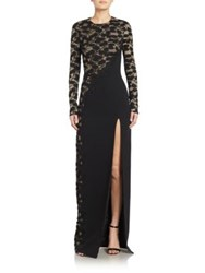 J. Mendel Asymmetrical Embroidered Lace Long Sleeve Gown Noir Nude