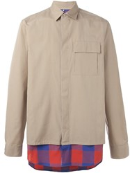 Oamc Paneled Shirt Nude And Neutrals