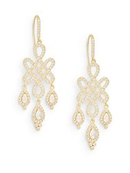 Freida Rothman Femme Mother Of Pearl And 14K Yellow Gold Vermeil Love Knot Chandelier Earrings